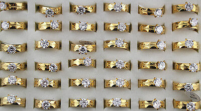 lots 30pcs stainless steel CZ Gold P Fashion High Quality Wedding rings ST88
