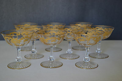 Antique St Louis Crystal Massenet Pattern Gold Encrusted  Champagne Glasses 9