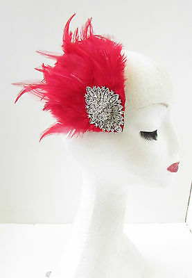 Red & Silver Feather Fascinator Headpiece Races Diamante Hair Clip Vintage Z25