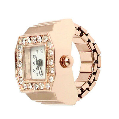 Square Dial Crystal Decor Elastic Finger Ring Watch Copper Tone forN3