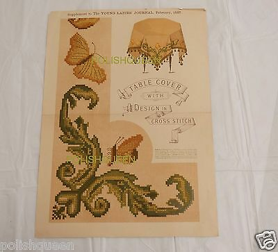 Antique 1887 Butterflies Scrollwork Tapestry Cross Stitch Pattern Table Cover