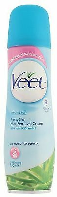 Veet Spray On Hair Removal Cream For Sensitive Skin, 150ml