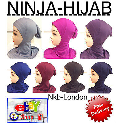Muslim Kids Girls Ladies Readymade Hijab Headscarf Ninja Plain Colours Hijab