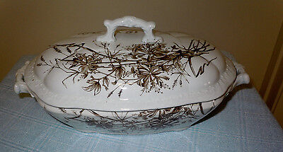 BROWN TRANSFERWARE Covered vegetable or casserole tureen Aesthetic Movement
