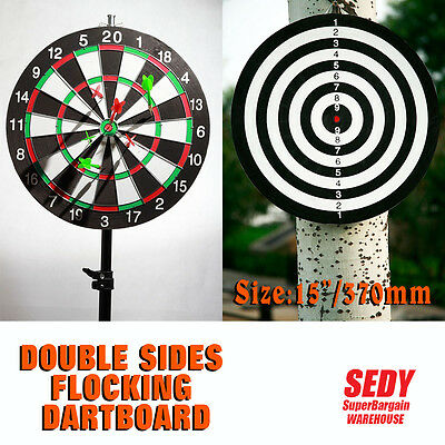"NEW 16"" Double Sides Flocking Dartboard with 6 Darts Dart Board Game Set"