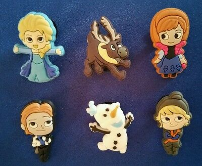 6 Pc Frozen Elsa Anna Olaf Sven Jibbitz Shoe Charms Cake Toppers Party Favors