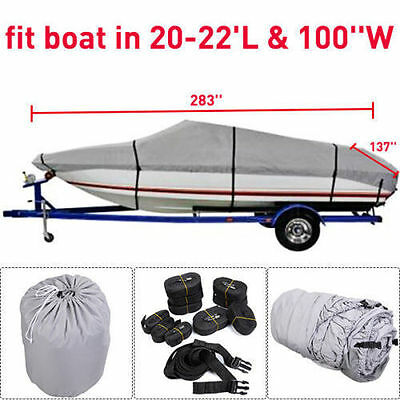 New 20-22 Ft Waterproof Heavy Duty Fabric Trailerable V shape Boat Cover Gray AP