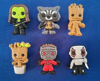 6 Pc Guardians Of The Galaxy Shoe Charms Jibbitz Toppers Party Favors Wristbands