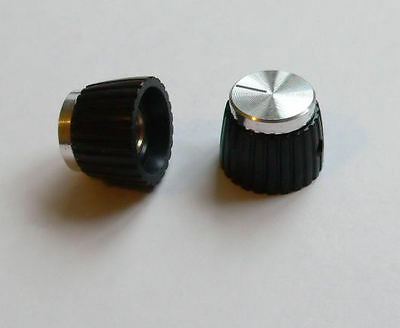 Silver Knob x 2 for Marshall Amplifier, grub screw for round control shaft knobs
