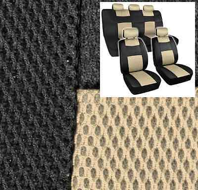 Supreme Mesh Seat Covers Black & Beige Gold - Extra Thick Padding for Auto Car