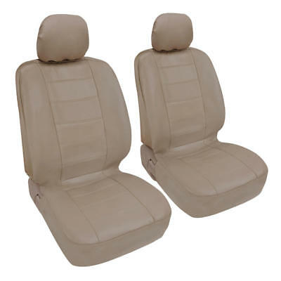 Beige Leatherette Car Seat Covers Front Pair Set of 2 Faux Leather