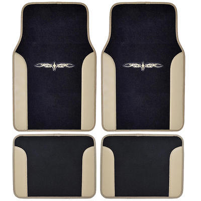 Embroidered Two Tone Tan Beige Tattoo Design 4 Piece Plush Car Auto Floor Mats