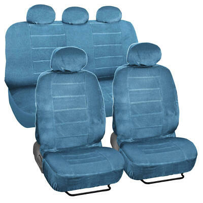 Blue Dotted Cloth 3 mm Encore Style 9 Piece Premium Car Seat Covers