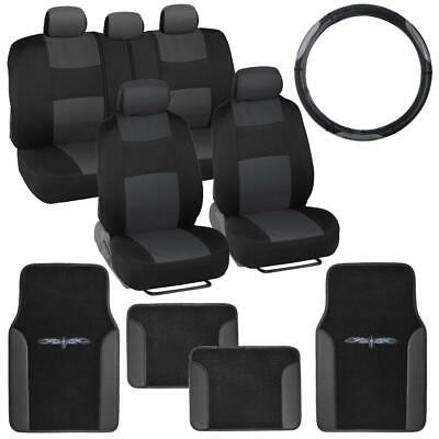 14 Pc Car Seat Covers Set Black & Charcoal w/ PU Leather Trim Carpet Floor Mats