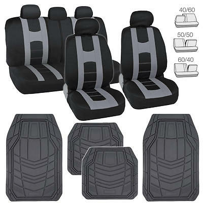 Black Car Seat Covers w/ Gray Stripe & Heavy Duty Grey Rubber Floor Mats