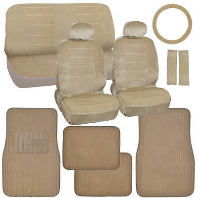 Car Seat Covers Original Velourette in Beige Tan with Ribbed Auto Floor Mats