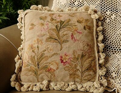 "14"" Whole Petit Point English Country Hand Crafted Floral Needlepoint Cushion"