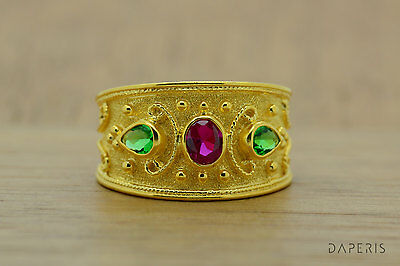 Emerald Ruby Byzantine Ring, Etruscan Ring, Sterling Silver, 22K Gold Plated,