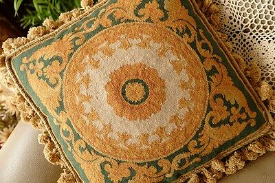 "16"" Vintage French Royal Acanthus Scroll Vines Handmade Needlepoint Pillow"