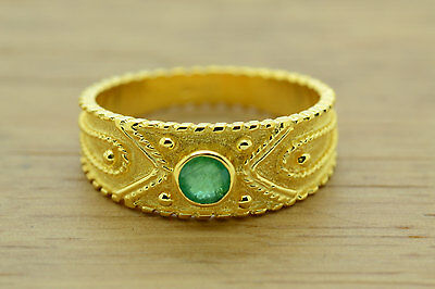 Emerald Byzantine Ring, Etruscan Ring, Sterling Silver, 22K Gold Plated,