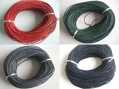 5/10M Real Genuine 2mm Round Leather Cord String Lace Thong DIY Jewellery Making
