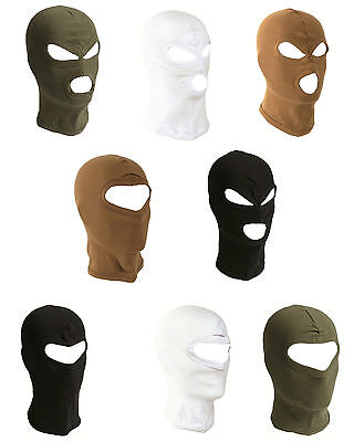 Deluxe Under Helmet Balaclava Short Lightweight 3 or 1 Hole Cotton Face Mask