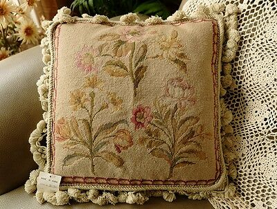 "14"" 400 Stitches Tiny Petit Point English Country Shabby Needlepoint Pillow"