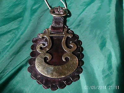 RARE Antique Horse Brass: Interesting Design Scroll Patterns Leather Martingale