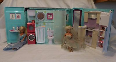 Vintage Barbie Folding House 2007 MY HOUSE Dollhouse With 2 1966 Dolls very rare