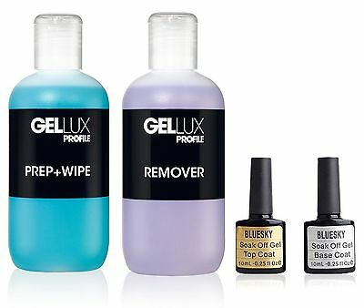 Bluesky Top and Base Coat + Salon System Gellux Profile Prep&Wipe + Remover