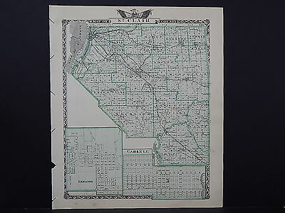 Illinois Map, 1876 Double Sided Counties of St. Clair and Washington L17#05