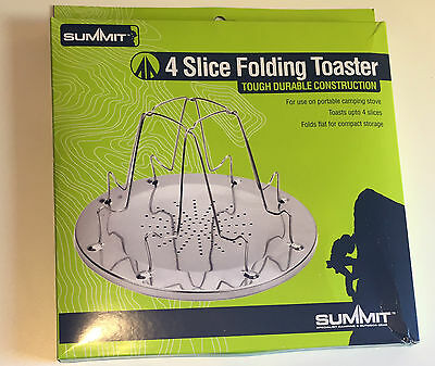 SUMMIT 4 SLICE FOLDING TOASTER CAMPING For GAS HOB COOKER FIRE STOVE TOAST CAMP