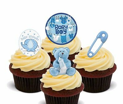 Baby Shower Boy, Blue Edible Cupcake Toppers, Standup Fairy Cake Bun Decorations