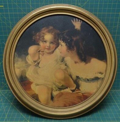 Vintage The Calmady Children by Sir Thomas Lawrence Lithograph C 20/32 in Frame