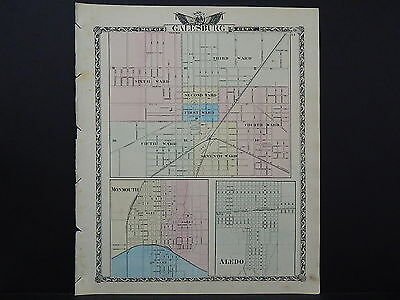 Illinois Map 1876 Galesburg Monmouth Aledo and Others L15#60