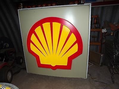 Large SHELL Oil Company LIGHTED SIGN Double Sided 6 foot Square PRICE REDUCED!