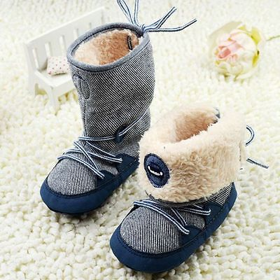 Winter Baby Boy's Snow Boots Lace Up Soft Sole Shoes Infant Toddler Kids