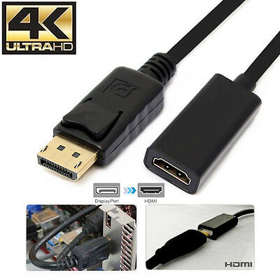 4K Displayport DP To HDMI Female Adapter Converter Cable 2160P For Laptop PC AU