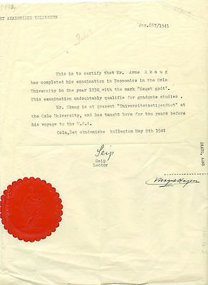 1941 Norway University document for Arne Skaug noted diplomat and politician