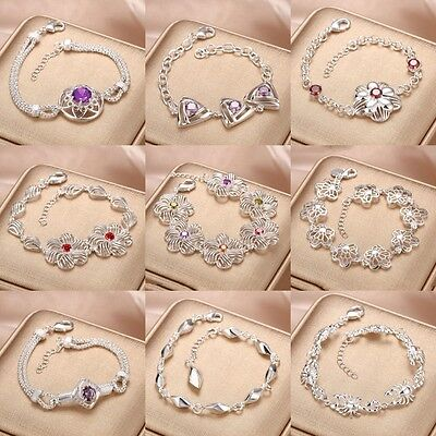 Fashion Jewelry Lady Solid 925 Sterling Silver Gemstone Bracelet Bangle Chain