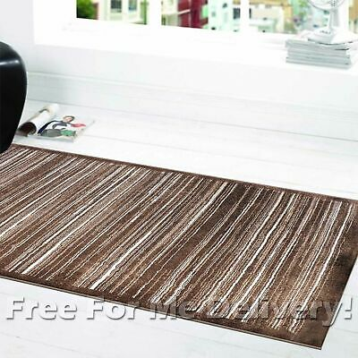 SOHO LINES STRIPES BROWN BEIGE MODERN FLOOR RUG RUNNER 80x300cm **FREE DELIVERY*