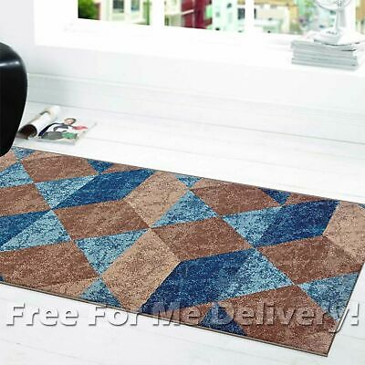 SOHO DIAMONDS BEIGE TEAL BLUE MODERN FLOOR RUG RUNNER 80x300cm **FREE DELIVERY**