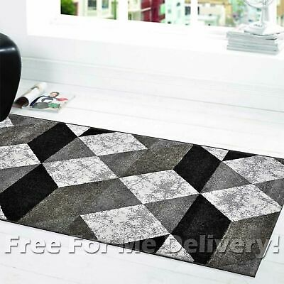 SOHO DIAMONDS BLACK GREY WHITE MODERN FLOOR RUG RUNNER 80x300cm **FREE DELIVERY*