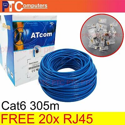 Premium 305m In-Box Cat6 RJ45 Ethernet LAN Network Cable Cord Lead 10/100/1000m
