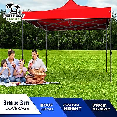 NEW PERFECT OASIS 3x3 GAZEBO PARTY EVENT Red TENT SHADE CANOPY Pop Up Folding