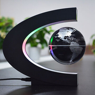 C Shape Led Light Decoration World Map Magnetic Levitation Floating Earth Globe