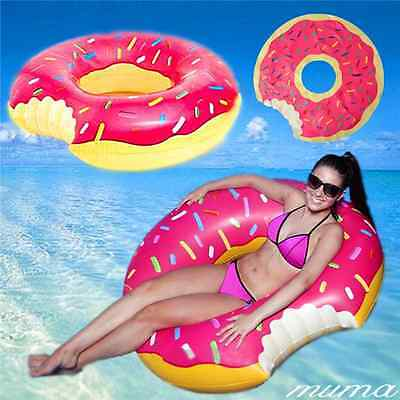 Inflatable Giant Fun Bite Shape Swim Ring Donut Swimming Pool Water Float Raft