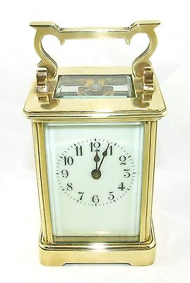 Antique Brass & Bevelled Glass Carriage Clock with Key : Working Order (47) • £375.00