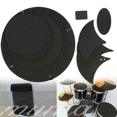 10pcs Bass Snare Drum Off Quiet Drums Mute Silencer Drumming Practice Pad Set