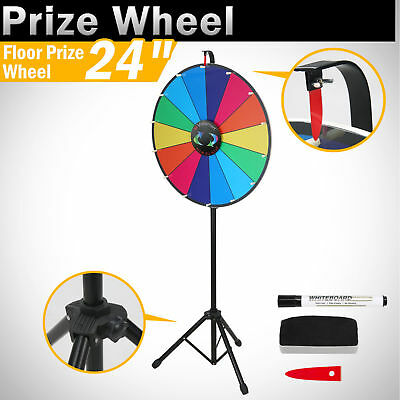 """24"""" Color Fortune Prize Wheel Folding Tripod Floor Stand Spinning Game Carnival"""